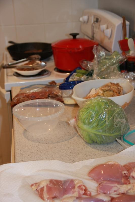 Bulgogi, chicken salad, coleslaw & marinated chicken