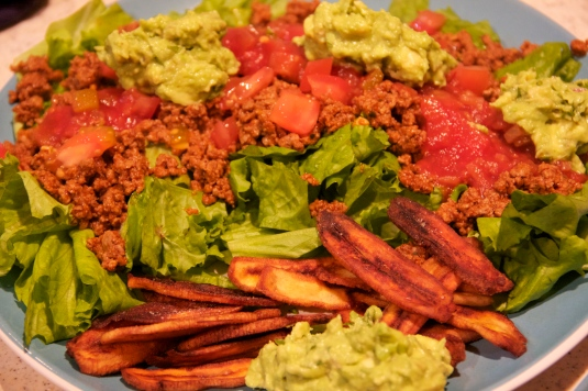 taco salad, plantain chips and guac