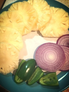 sliced pineapple, red onions and jalapeno