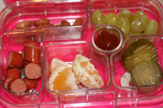 Almonds, grapes, kosher hotdogs, miran and pickles