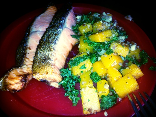 Salmon from the San A and the Roasted Butternut Squash Kale